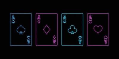 sinal de néon de jogar cartas de ases no fundo preto. vetor