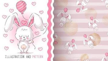 coelho bonito dos desenhos animados com balão, padrão sem emenda