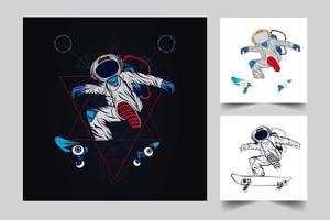 ilustração de arte de skate de astronauta vetor