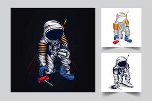 ilustração de arte de astronauta vetor