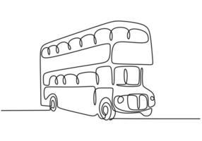 ônibus um desenho de linha. transporte público para transporte de passageiros. Lineart de esboço desenhado de mão única contínua, estilo minimalismo.