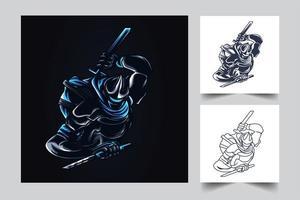ilustração de arte ninja vetor