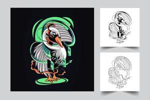 ilustração de arte de ganso vetor