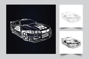 ilustração de arte de carros de corrida vetor
