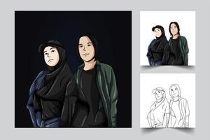 conjunto de ilustração de arte de casal de pessoas vetor