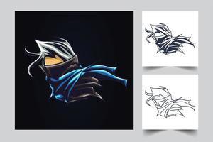 ilustração de arte de guerra ninja vetor