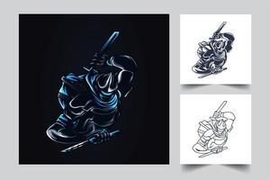 ilustração de arte de samurai ninja vetor