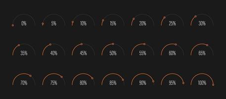 conjunto de ilustração vetorial de diagramas de porcentagem de semicírculo vetor