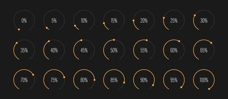 conjunto de ilustração vetorial de diagramas de porcentagem de setor circular vetor