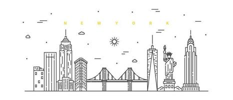 cidade de Nova York. vetor de paisagem moderna linha plana. ilustração da arte da linha da cidade com edifício, torre, arranha-céus. ilustração vetorial.