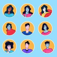 coleção colorida de avatar de pessoas desenhadas à mão vetor