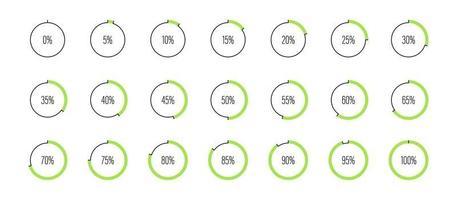 conjunto de ilustração vetorial de diagramas de porcentagem de círculo vetor