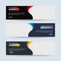 vetor abstrato design banner web template. coleção de banner horizontal de anúncios de negócios. ilustração vetorial
