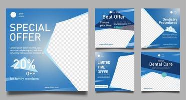 modelos de postagens de mídias sociais de dentista. banner web quadrado de promoção médica. vetor