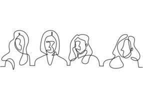 contínuo um desenho de linha de uma associação de mulheres. empoderando a mulher.