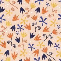 padrão floral vetor sem costura com flores cor de rosa. na moda infantil mão desenhada fundo colorido botânico.