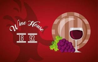 poster casa de vinho com barril e uvas vetor