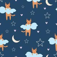 padrão infantil sem costura com gatos bonitos, lua, estrela, amor e nuvens.