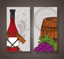 cartaz de casa de vinhos com barril e uvas vetor