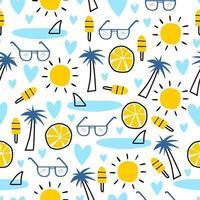padrão sem emenda de verão, ilustração vetorial com palmeira, óculos escuros e sorvete.