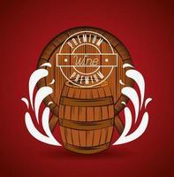 poster casa de vinho com barril vetor