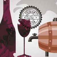 poster da casa de vinhos com barril e garrafa