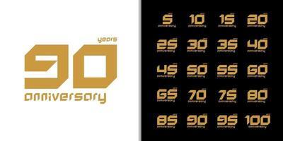 conjunto de logotipo de aniversário da moda vetor