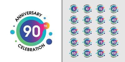 conjunto de logotipo de aniversário moderno vetor