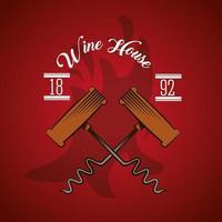 poster wine house com saca-rolhas vetor