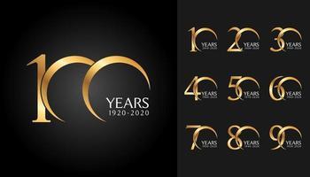conjunto de emblemas de aniversário vetor