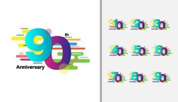 conjunto de logotipos de aniversário vetor