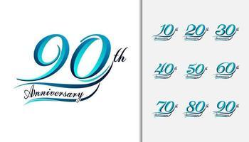 conjunto de números caligráficos e tipográficos de aniversário vetor