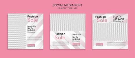 mídia social pós-kit de pacote de modelo de design quadrado para venda, promoção vetor
