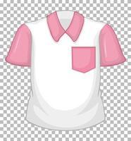 camisa branca em branco com mangas curtas rosa e bolso vetor