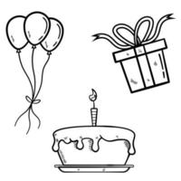 bolo de aniversário com balões e presentes em estilo de desenho vetor