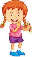 uma garota segurando um personagem de desenho animado a lápis isolado no fundo branco vetor