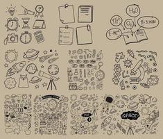 conjunto de objeto e símbolo desenhado à mão doodle vetor