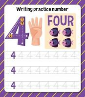 planilha de prática de escrita número 4 vetor