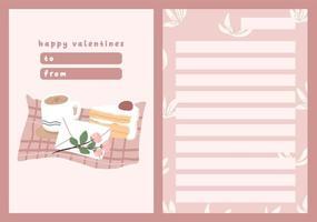 cartão do dia dos namorados nota de dedicação carta de amor bonito design plano escandinavo vetor