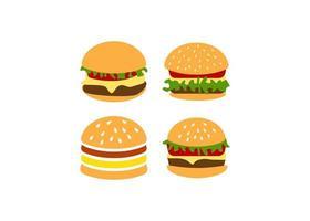 ilustração isolada do vetor do molde do ícone do hambúrguer