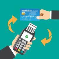 comprovante de cartão de crédito com tecnologia de compras online vetor