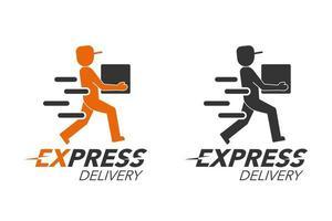 conceito de ícone de entrega expressa. serviço de homem de entrega, ordem, em todo o mundo, frete rápido e gratuito. design moderno. vetor