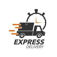 conceito de ícone de entrega expressa. coleta com ícone de cronômetro para serviço, pedido, remessa rápida, gratuita e mundial. design moderno.