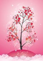 árvore com folhas de papel e corações vetor