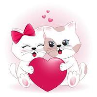 conceito de casal gato e coração dia dos namorados vetor