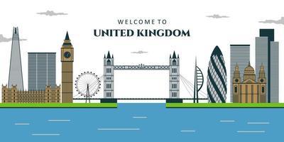 vista do Reino Unido. ponte da torre, big ben, palácio de westminster, london eye, ponte de westminster, rio thames em londres. vetor