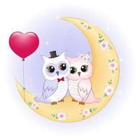 casal coruja na lua vetor