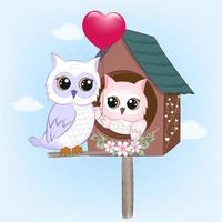 casal coruja e casa de pássaro vetor