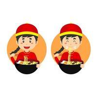 Garoto bonito traje chinês tradicional comendo tigela de macarrão ramen vetor