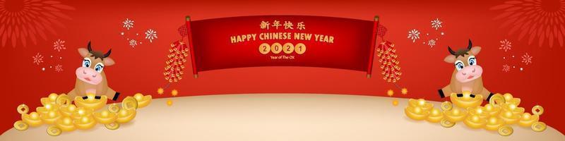 ano novo chinês 2021 ano do boi, personagem de boi cortado em papel vermelho, flores e elementos asiáticos com estilo de artesanato no fundo. A tradução chinesa é feliz ano novo chinês 2021, ano do boi. vetor
